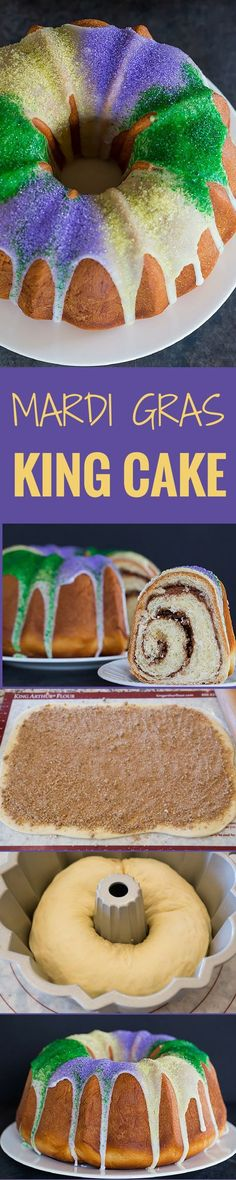 A festive King Cake for Mardi Gras – filled with a pecan brown sugar and cinnamon swirl – baked into a Bundt pan and decorated with colored sanding sugars.