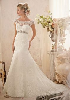 bridal gown from Mori Lee by Madeline Gardner Dress Style 2620 Alençon Lace Appliqués and Wide Hemline on Net with Crystal Beaded Empire