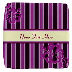 Purple And Pink Stripe Hibiscus Personalized Cube