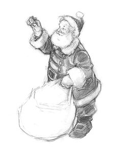 """HOLIDAY/SANTA Drawing     from """"Santa and the Mouse"""" - Sketch of Santa from """"Santa and the Mouse"""""""