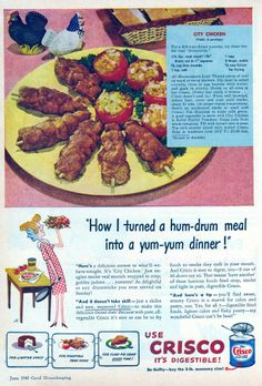 """City Chicken, """"for a delicious dinner surprise,"""" the surprise being that it contains no chicken. The hen in the babushka appears perplexed by the whole thing, while the rooster is indifferent. Retro Recipes, Old Recipes, Vintage Recipes, City Chicken, Retro Food, Vintage Food, Vintage Ads, Retro Ads, 60s Food"""