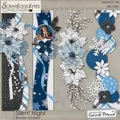 Silent Night - Border Clusters :: Page Edges :: Embellishments :: SCRAPBOOK-BYTES