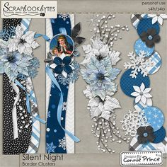 Silent Night - Border Clusters :: Page Edges :: Embellishments :: SCRAPBOOK-BYTES