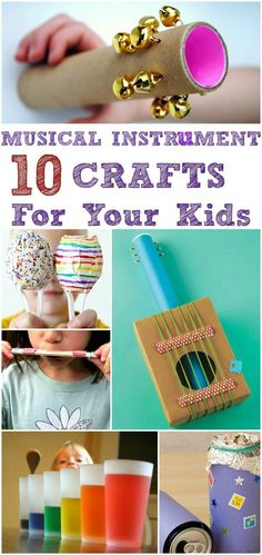 Top 10 Musical Instrument Crafts For Kids: There are plenty of ways to create musical instruments using little knick-knacks that you do not have any use for. Here are the top 10 homemade musical instrument crafts for kids to make Crafts For Kids To Make, Craft Activities For Kids, Kids Diy, Craft Ideas, Crafts For Babies, Crafts For Toddlers, Fun Projects For Kids, Diy Projects, Fun Ideas