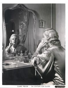 Vintage Movie Star Claire Trevor at her dressing table