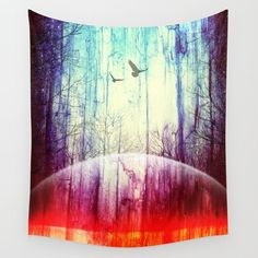 Space rainbow tapestry by The Mind Blossom. Forest tapestry, hippie tapestry, hippie home decor, boho wall decor, hippie art, bohemian tapestry