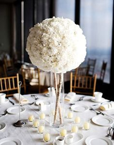 Image result for modern white flower ball centerpieces