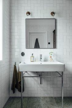 my scandinavian home: A Light-filled, Pared-Back Coastal Home In Halland, Sweden Modern Bathroom, Small Bathroom, Bathroom Marble, Industrial Bathroom, Minimalist Bathroom, White Wash Walls, Swedish Interiors, Best Bathroom Designs, Kitchen Cabinet Styles