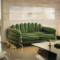 Cactus wallpapers and cactus-inspired pieces are very popular now that many people have applied them to decorate their rooms at home. Here, we've gathered more than 20 unique cactus home decorating ideas for your inspiration. Funky Furniture, Unique Furniture, Furniture Design, Furniture Stores, Cheap Furniture, Cheap Home Decor, Diy Home Decor, Decor Crafts, Home Interior Design