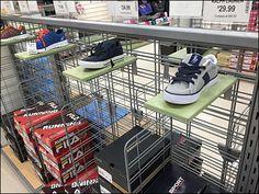 Marshall's Slatwall Shoe Ledges Main Slat Wall, Trays, Shoe Rack, Grid, Hooks, Retail, Shoe Racks, Wall Hooks, Sleeve