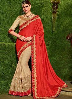 22b96921f5 Staring Beige and Orange Patch Border Work Lycra Half N Half Designer Saree  Trendy Sarees,