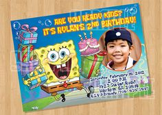 Spongebob Birthday Party Invitation by cutiesparties.com $8.00