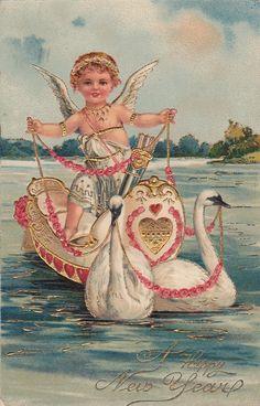 Wings of Whimsy: New Year's Cherubs - Cherub & Swans - free for personal use #vintage #ephemera #printable #freebie kopi