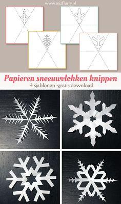 Vind je het lastig om een patroon voor een papieren sneeuwvlok zelf te tekenen? Download en print dan deze 4 gratis sjablonen en je hoeft alleen nog maar te knippen.