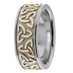 Trinity Knot Unique Celtic Wedding Bands Rings, Men's Women's Two Tone Gold Celtic Wedding Bands Rings