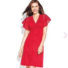 BRAND NEW Red Crochet Sleeve Dress Avon Red Crochet Flutter Sleeve Dress. Brand New Never Worn. Fits more like a 3x Avon Dresses