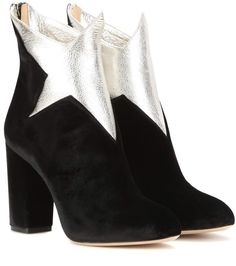 mytheresa.com - Galactica velvet and leather ankle boots - Luxury Fashion for Women / Designer clothing, shoes, bags