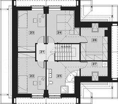 Rzut poddasza projektu Noelia Modern Floor Plans, How To Plan, Home Decor, Modern, Projects, Interior Design, Home Interiors, Decoration Home, Floor Plan Drawing