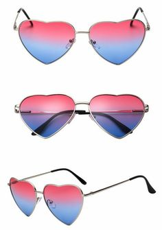 Show the world some love with these funky heart shaped sunglasses. They are crafted from silver-tone metal frames and UV-protection red blue gradient lenses. Heart Shaped Sunglasses, Cat Eye Sunglasses, Mirrored Sunglasses, Silver Metal, Heart Shapes, Red And Blue, Lenses, Palette, Frame