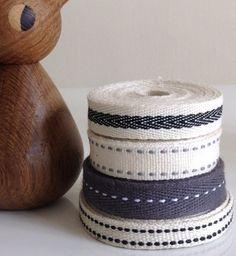 Twill tape 16 yards of grey cream black by LostPropertyHongKong