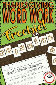 Word Study Activities, Fun Classroom Activities, Classroom Resources, Teaching Resources, Teaching Ideas, Thanksgiving Words, Thanksgiving Activities, Fast Finishers, Vocabulary Practice