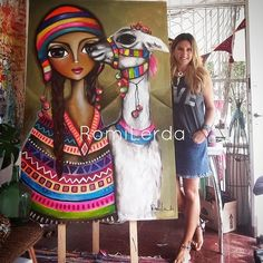 Nueva obra para cerrar esta semana de emociones. Primera obra de esta serie que se viene con todo el color. 💗💚🧡💜💛 #soyRomiLerda #norteargentino #coya #llama #womanart #Argentina #italia #españa #colombia #mexico #miami #brasil #chile #uruguay #arte #art #galeriadearte #galleryart #love #occhi #eyes #ojos #woman #obrasdearte #arteargentina #canvas #artstudio #artwork #painting #unesco Art Pop, Acrylic Painting Canvas, Canvas Art Prints, African Art Paintings, Frida Art, Art Corner, Guache, Doll Painting, Modern Artwork