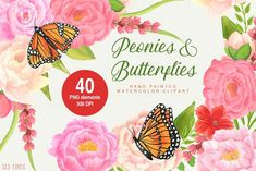 Peonies & Butterflies Watercolors by SLS Lines on @creativemarket