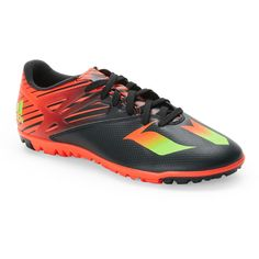 new product 7a7b0 4ddc1 Adidas Black  Solar Red Messi 15.3 Soccer Sneakers (43) ❤ liked on  Polyvore