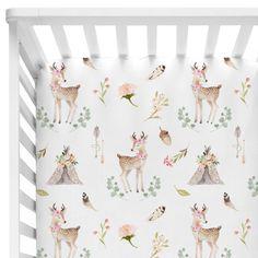 Baby Girl Floral Fawn & Boho Teepee Crib Sheet