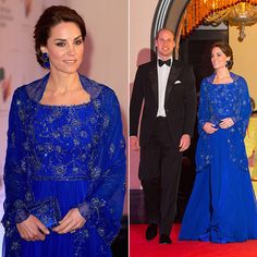 A glittering number for a glittering reception. Kate kept in tune with India's culture in this Bollywood-inspired number for their welcome reception in Mumbai in 2016. The chiffon silk bespoke dress was also beaded in India. The Duchess wore earrings from Indian designer Amrapali.