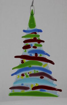 Christmas Tree Ornament 6 Handmade Fused Glass by ArtsonFirePlano, $9.98