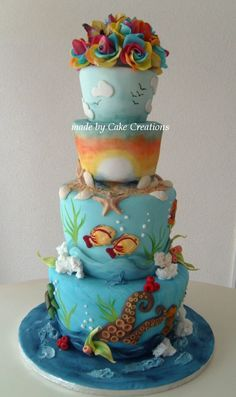 Rainbow roses above the sea - I had so much fun making this cake. The bride and groom gave me creative freedom. The only thing they absolutely wanted to see in  the cake were the themes: sea, beach and rainbow roses. I had to look up the latter. happy roses are roses of which the petals consist of several colors! It was great to make that in gumpaste. Raspberry cake with champagne filling. All decorations and the roses made from gumpaste. Thanks for watching!