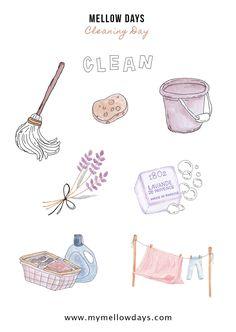 Free Printables Cleaning Day - Mellow Days Printable Stickers, Cute Stickers, Free Printables, Bullet Journal Art, Bullet Journal Inspiration, Journal Stickers, Planner Stickers, Ideas Scrapbook, Journaling