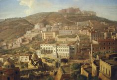 """""""Castle Sant'Elmo and Carthusian monastery of San Martino in Naples """" (Detail) - """"View of Naples with the District of Chiaia from Pizzofalcone"""" (early 18th century) by Gaspar van Wittel (Amersfoort 1653-Rome 1736) - The Museum of Zevallos Stigliano Palace."""