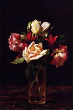 The Athenaeum - Still LIfe with Roses and Fuchsia (George Cochran Lambdin - )