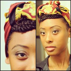 Gorgeous. Love the scarf & the braids in front. Her eyebrows are also ridiculous.