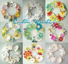 diy paper floral wreath (maybe with a few non-paper items to give a bit more depth and variety) Paper Flower Wreaths, Flower Crafts, Diy Flowers, Fabric Flowers, Paper Flowers, Floral Wreaths, Origami, Wreath Crafts, Diy Wreath