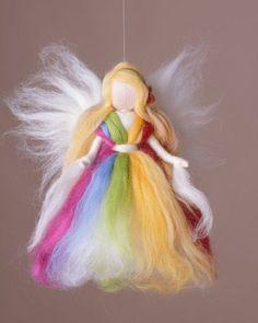 * Elf magic colors & # * – Decorative objects – Home accessories – Handmade with love … - New Haus Dekoration Yarn Crafts, Felt Crafts, Diy And Crafts, Felt Christmas, Christmas Angels, Felt Angel, Needle Felting Tutorials, Felt Fairy, Felt Material
