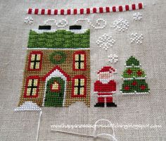 Happiness is Cross Stitching : Progress on Santa's Village design by Country Cottage Needleworks