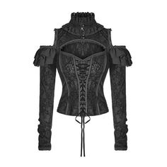 Punk Rave Blouse Top Womens Black Corset Gothic Steampunk VTG... (€54) ❤ liked on Polyvore featuring tops, blouses, corset blouse, steam punk corset, punk corset, steampunk blouse and gothic tops