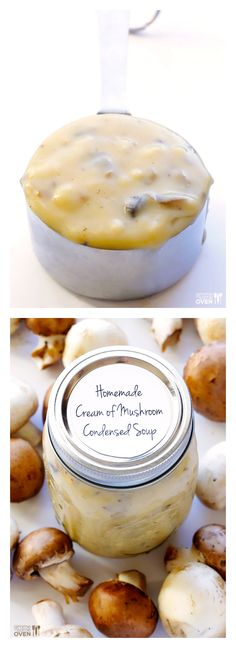 Condensed Cream of Mushroom Soup -- made with all-natural simple ingredients, and a perfect substitution for the canned stuff! | gimmesomeoven.com