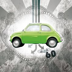 Tableau design toile Sixty Car's green