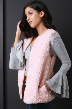 This sleeveless vest features a plush curl texture knit construction, seamless open front with hook-n-eye clasp closure, hidden side pockets, and fully lined. Accessory sold separately. 100% Polyester. Measurement Size Bust Hem Length S 34 18 26 M 36 19 27 L 38 20 28 Knit Vest, Curls, Plush, Bell Sleeve Top, Construction, Closure, Pockets, Texture, Knitting