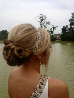 This Is Going To Be My Prom Hair Alyssa Updos Hair Styles - fancy hairstyles with headband fancy hairstyles for graduation Special Occasion Hairstyles, Fancy Hairstyles, Headband Hairstyles, Wedding Hairstyles, Headband Updo, Headbands, Rhinestone Headband, Hairstyles Men, Wedding Updo