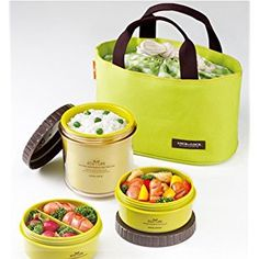 Lock & Lock Bento Lunch Box Set Multi Round w/3 Containers + Bag HPL746 (Green)