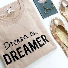 'Dream On, Dreamer' Graphic Sweatshirt Size L, beige/blush with black text. NWT. Measurements to come. 01081602 Banana Republic Tops Sweatshirts & Hoodies