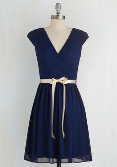 Champagne at Midnight Dress in Navy - Blue, Solid, Lace, Belted, Party, A-line, Cap Sleeves, Woven, Good, V Neck, Lace, Prom, Wedding, Bridesmaid, Homecoming, Mid-length