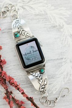 Sterling Silver and Turquoise Apple Watch Band, Custom Apple Watch Band