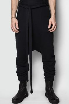 Men's black cotton oversized sweatpants from the AW17/18 collection from Army Of Me. Relaxed fit with dropped crotch and tapered legs. Made from a medium to heavy weight cotton boucle fabric. Made in Turkey. The model is 176cm / 62kg and wears size S. Material composition: 100% cotton Article code: 17217