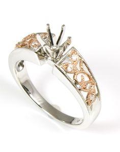 Milgrain Rose Diamond Ring Mounting - Wilsonville Diamond